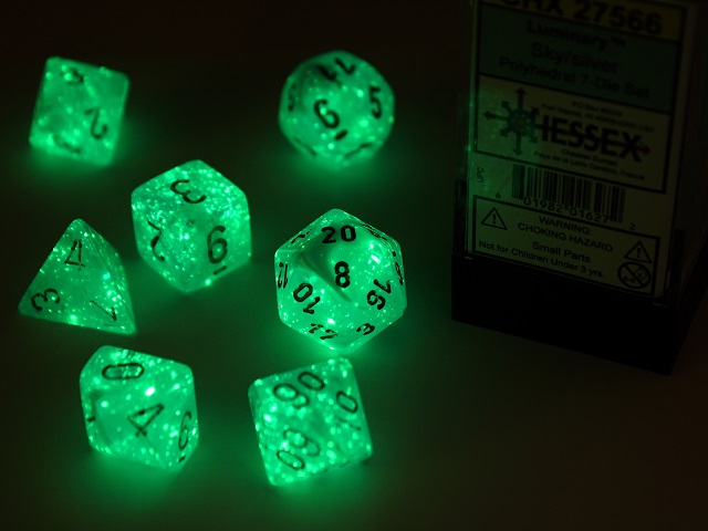 Luminary Polyhedral Sky/silver 7-Die Set