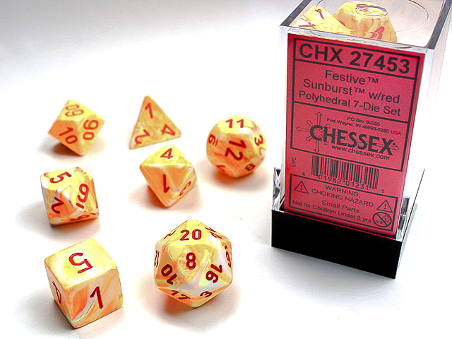 Festive Polyhedral Sunburst/red 7-Die Set